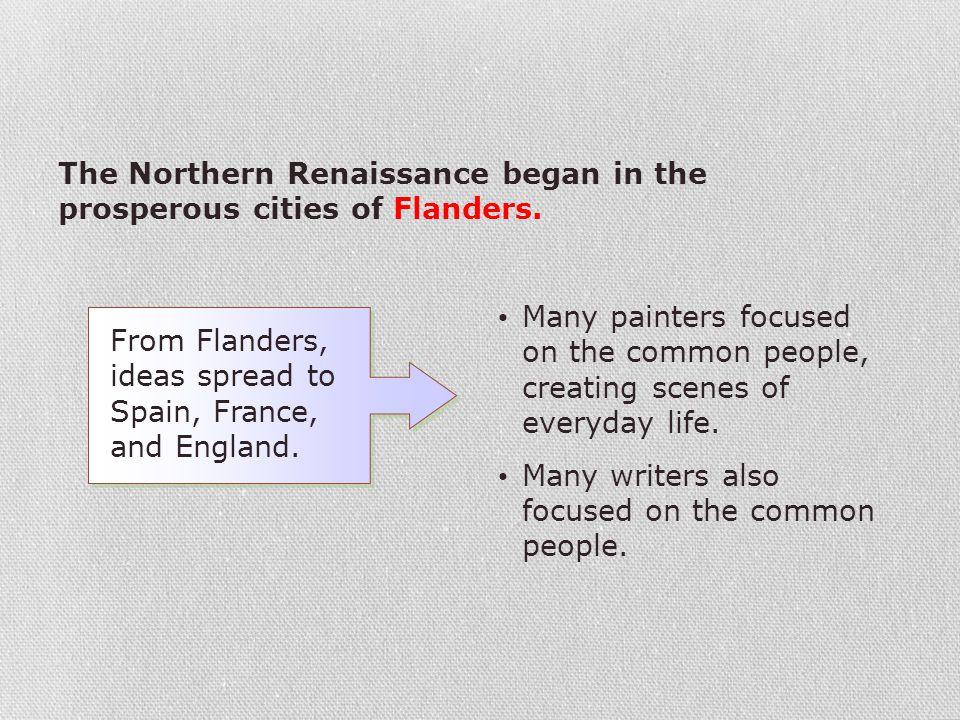 The Northern Renaissance began in the prosperous cities of Flanders.