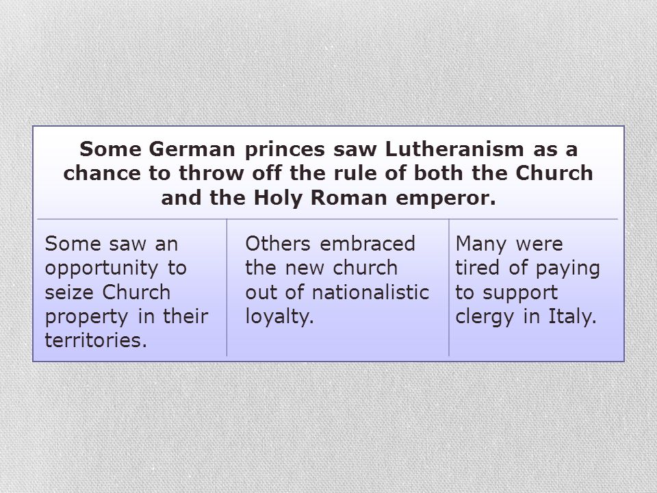 Some German princes saw Lutheranism as a chance to throw off the rule of both the Church and the Holy Roman emperor.