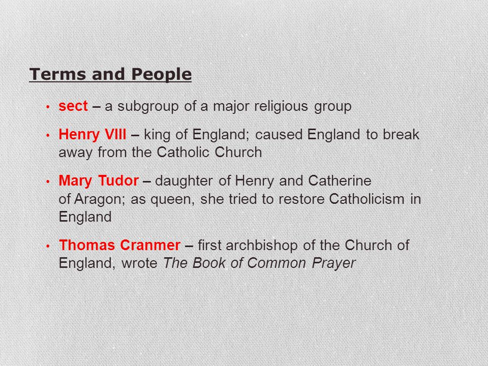 Terms and People sect – a subgroup of a major religious group