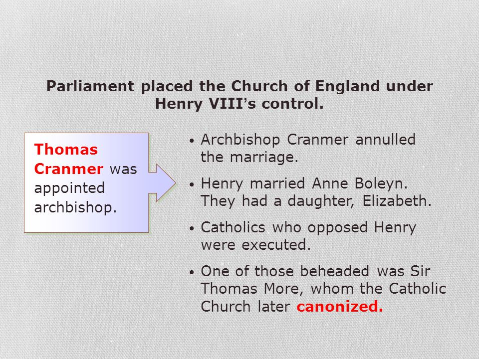 Parliament placed the Church of England under Henry VIII's control.