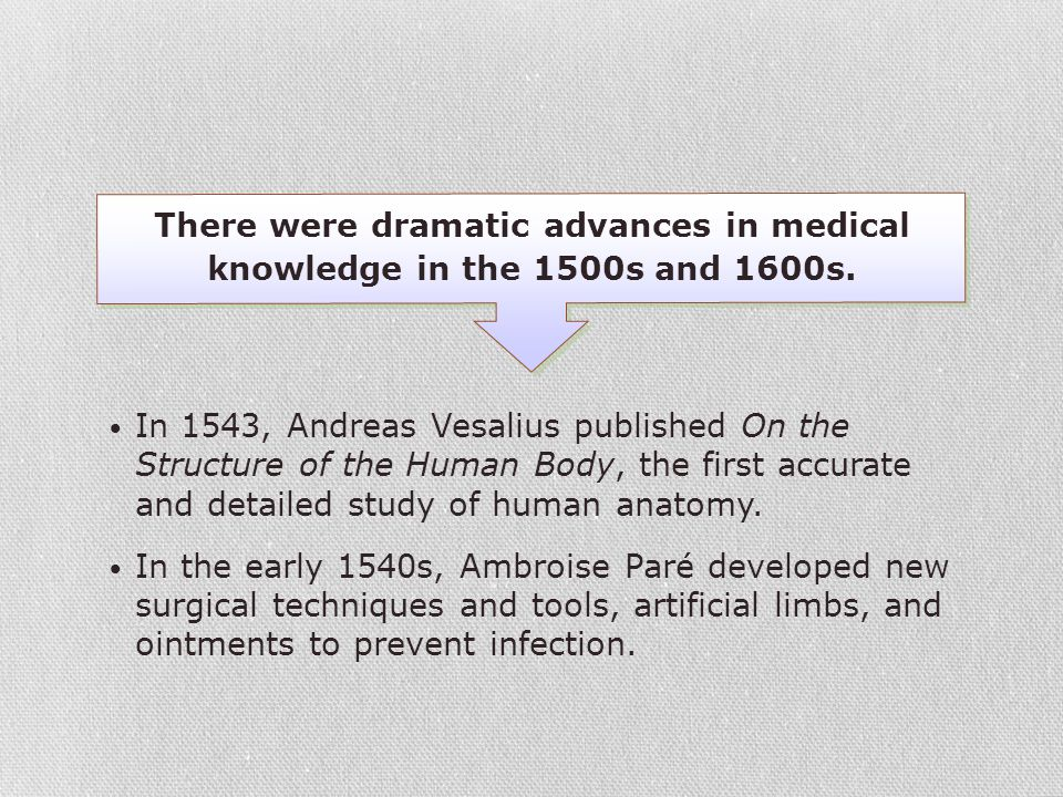 There were dramatic advances in medical knowledge in the 1500s and 1600s.