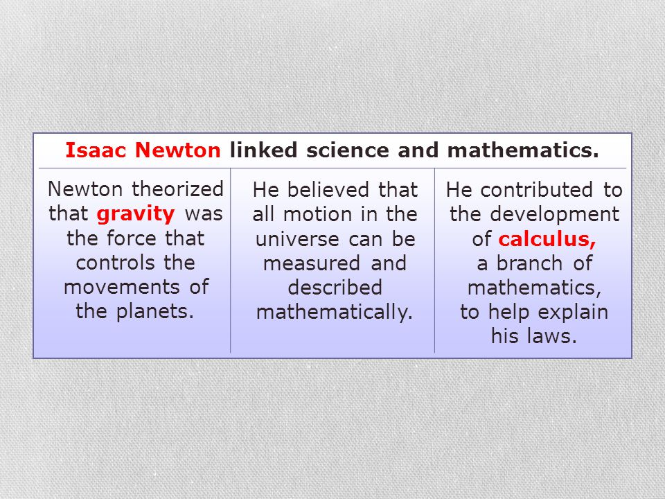 Isaac Newton linked science and mathematics.