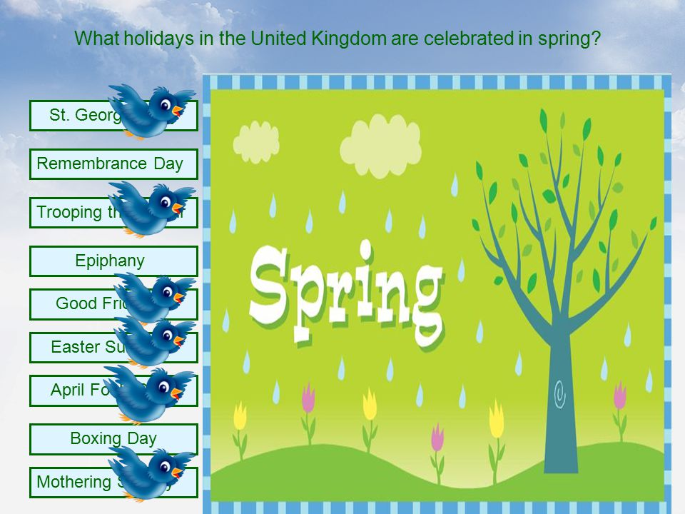 What holidays in the United Kingdom are celebrated in spring