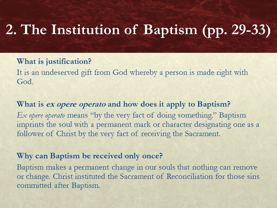 2. The Institution of Baptism (pp. 29-33)