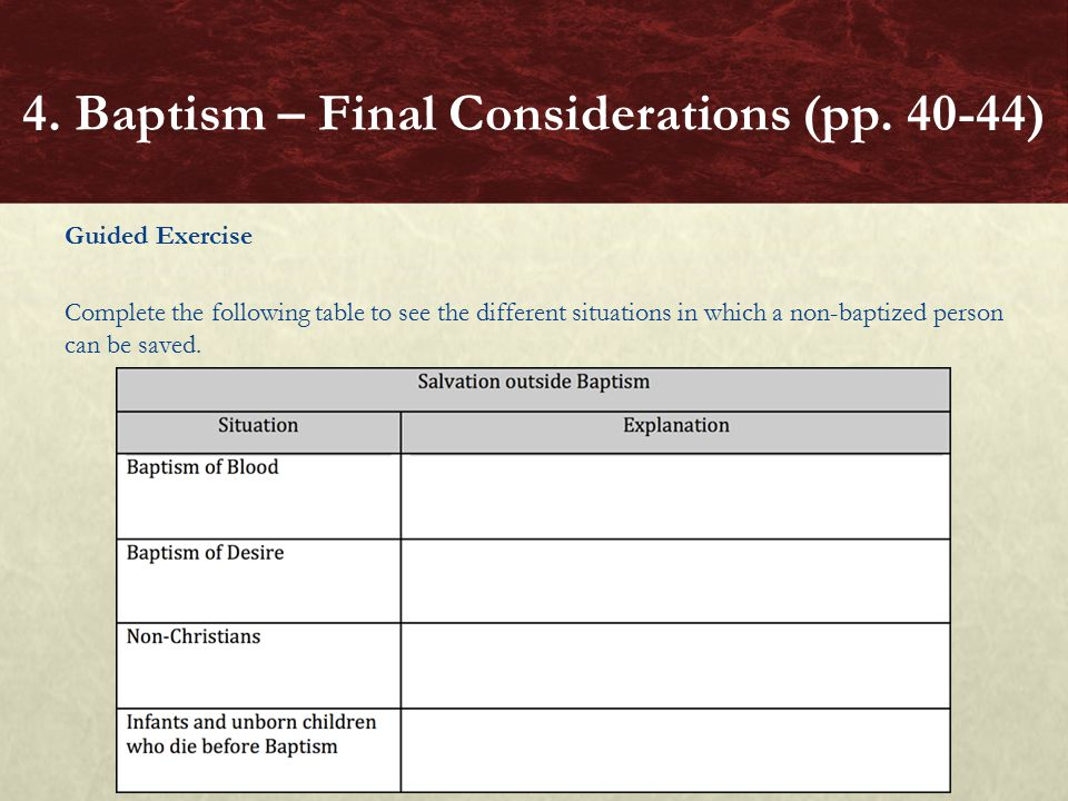 4. Baptism – Final Considerations (pp. 40-44)