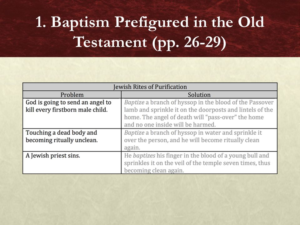 1. Baptism Prefigured in the Old Testament (pp. 26-29)