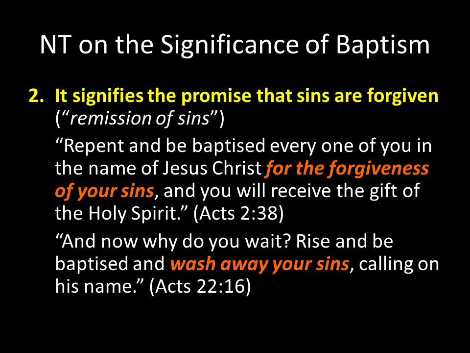 NT on the Significance of Baptism