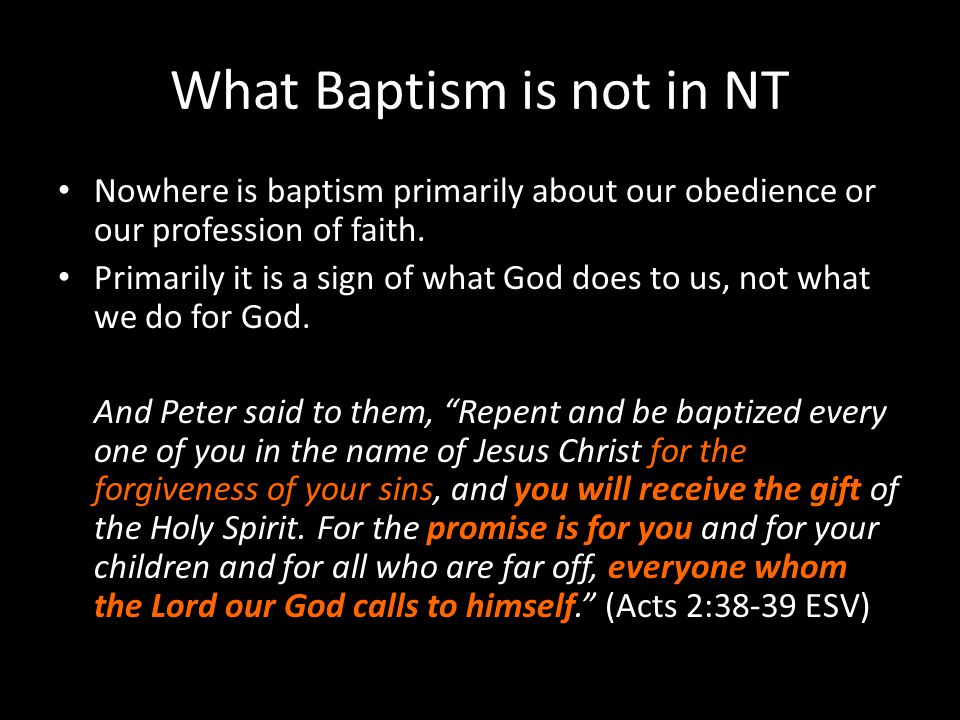 What Baptism is not in NT