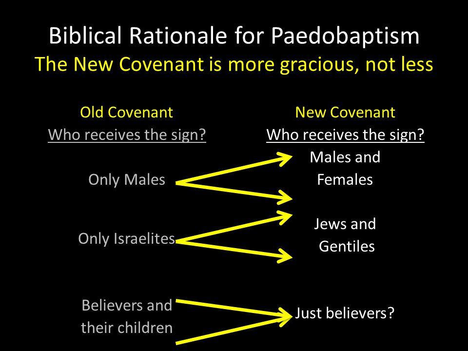 Biblical Rationale for Paedobaptism The New Covenant is more gracious, not less
