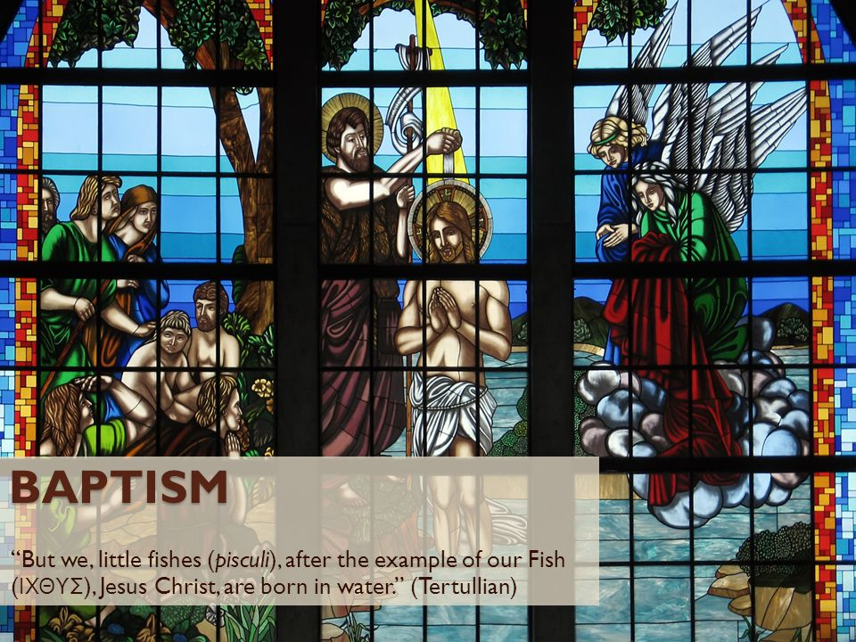 Baptism But we, little fishes (pisculi), after the example of our Fish (ΙΧΘΥΣ), Jesus Christ, are born in water. (Tertullian)