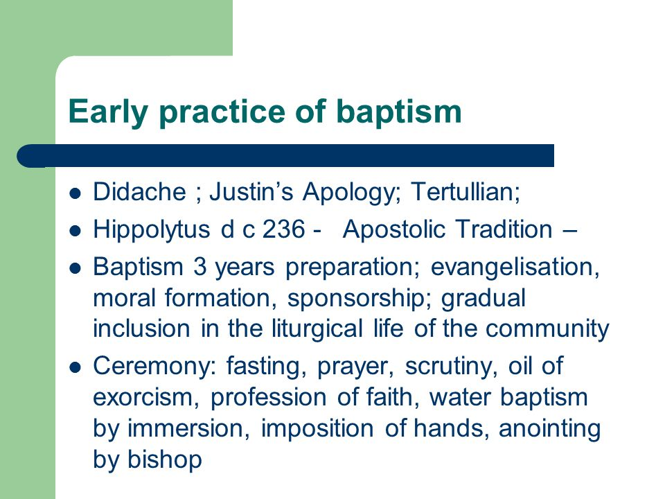 Early practice of baptism