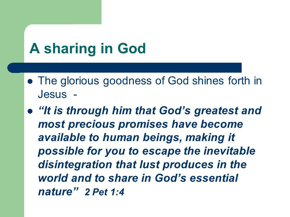 A sharing in God The glorious goodness of God shines forth in Jesus -