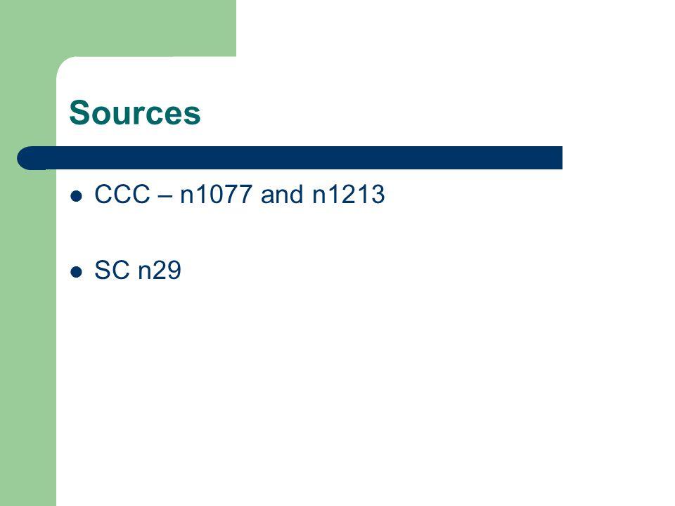 Sources CCC – n1077 and n1213 SC n29