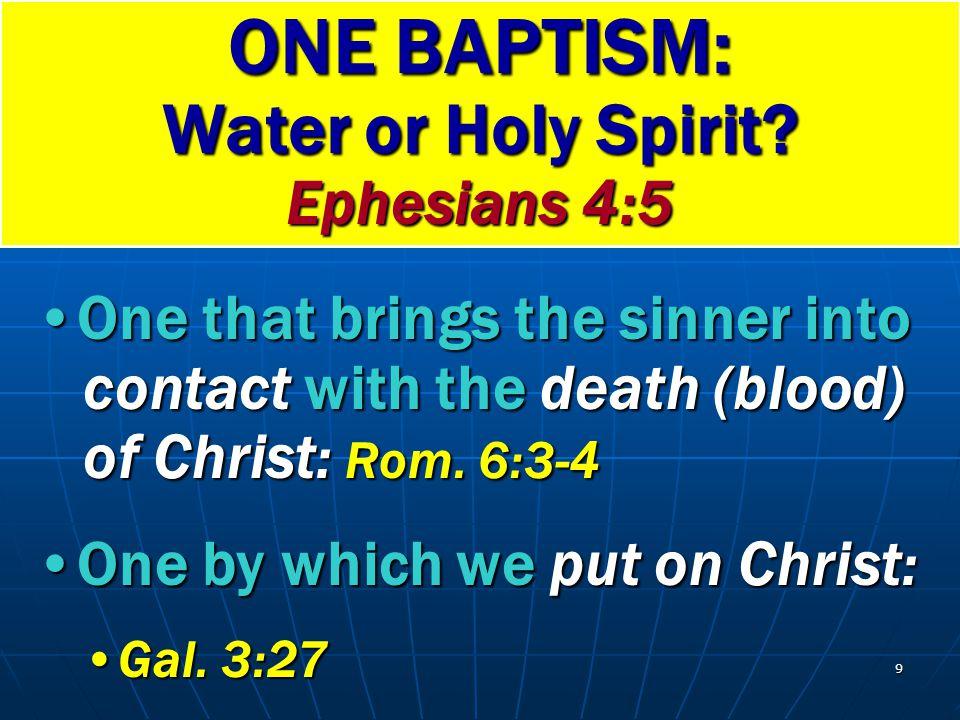 ONE BAPTISM: Water or Holy Spirit Ephesians 4:5