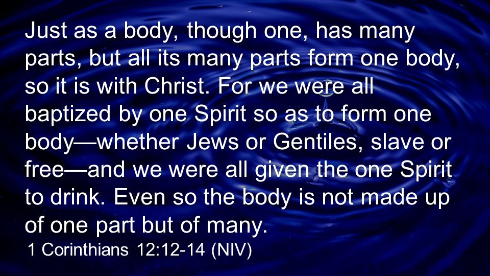 Just as a body, though one, has many parts, but all its many parts form one body, so it is with Christ. For we were all baptized by one Spirit so as to form one body—whether Jews or Gentiles, slave or free—and we were all given the one Spirit to drink. Even so the body is not made up of one part but of many.