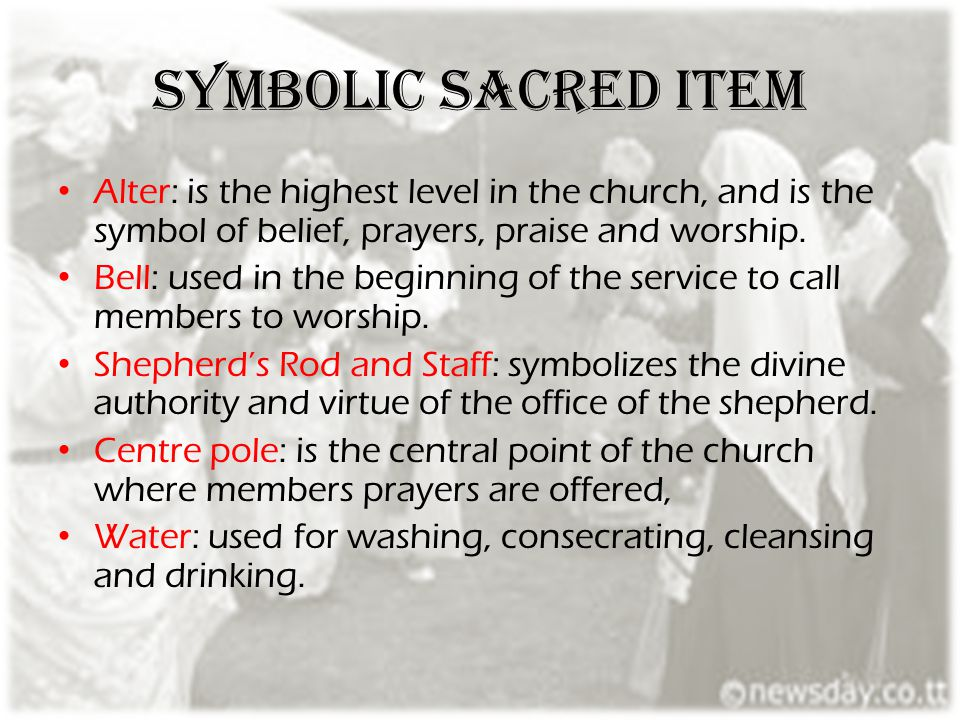 Symbolic sacred item Alter: is the highest level in the church, and is the symbol of belief, prayers, praise and worship.