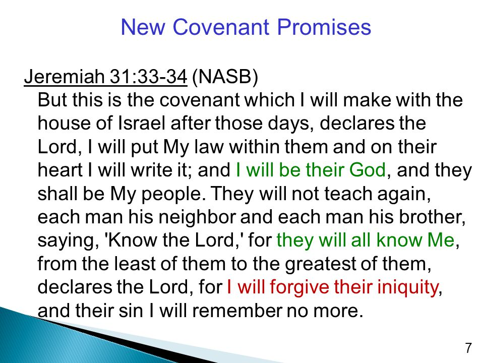 New Covenant Promises Jeremiah 31:33-34 (NASB)