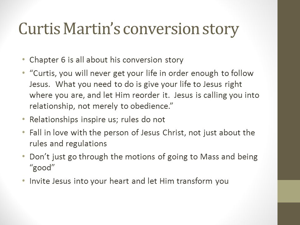 Curtis Martin's conversion story