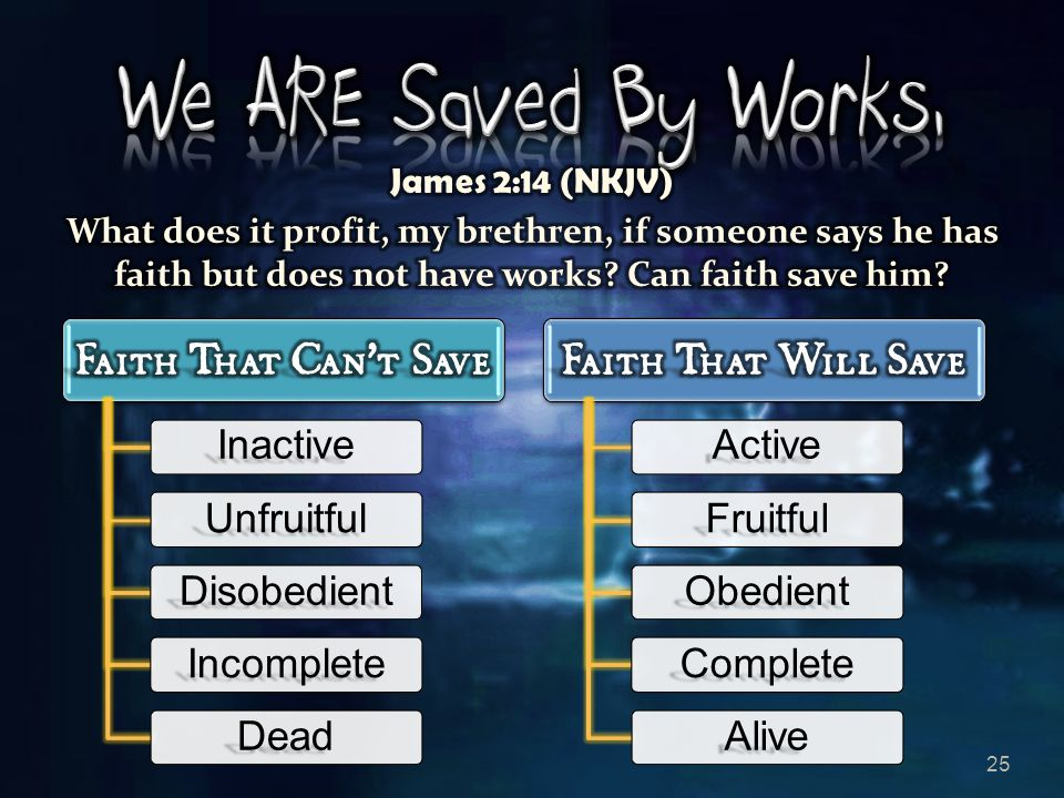 We ARE Saved By Works, James 2:14 (NKJV)