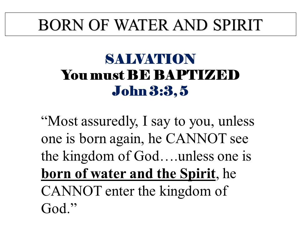 BORN OF WATER AND SPIRIT