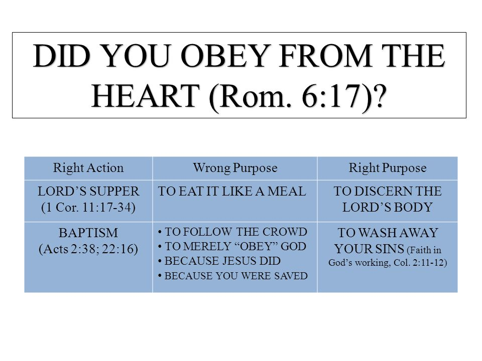 DID YOU OBEY FROM THE HEART (Rom. 6:17)