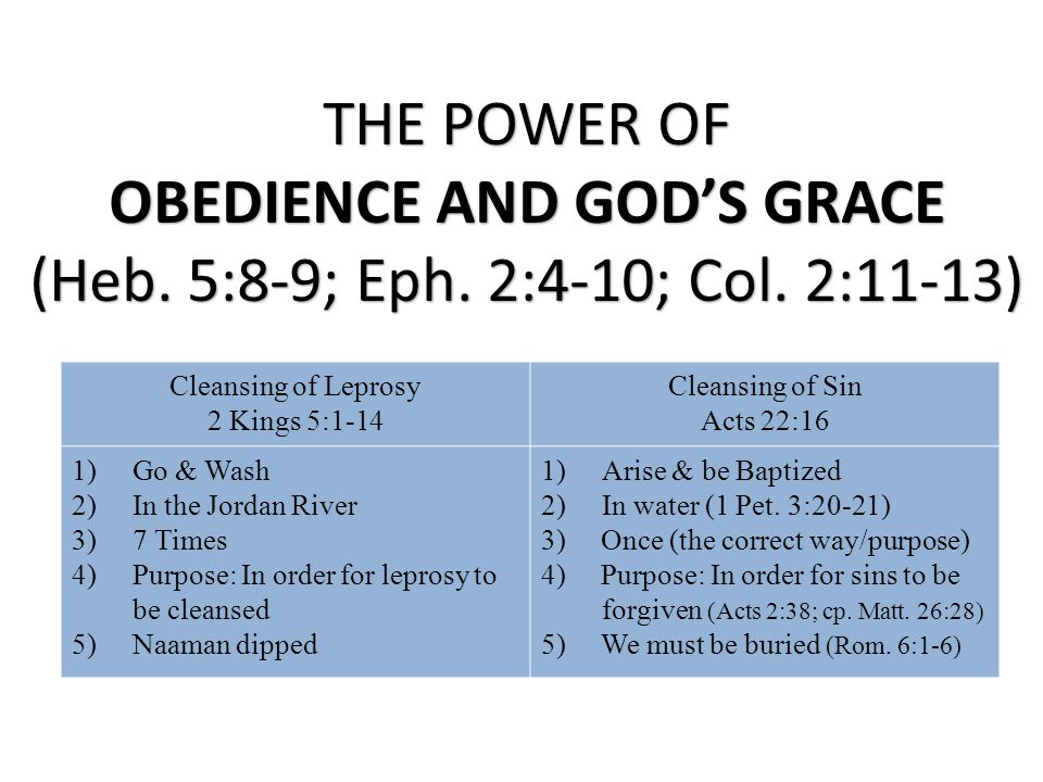 OBEDIENCE AND GOD'S GRACE