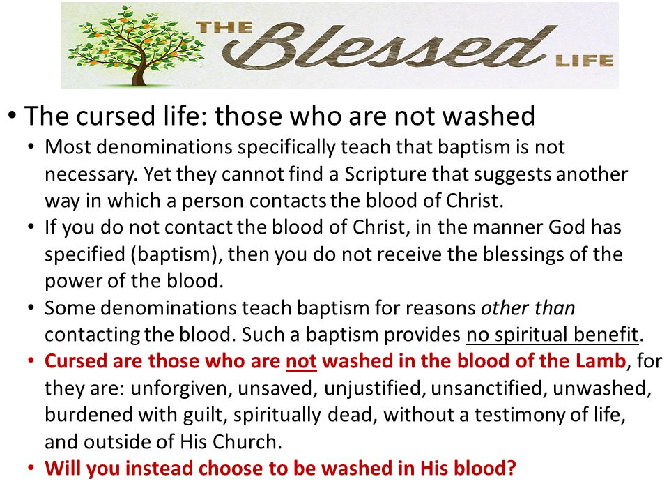 The cursed life: those who are not washed