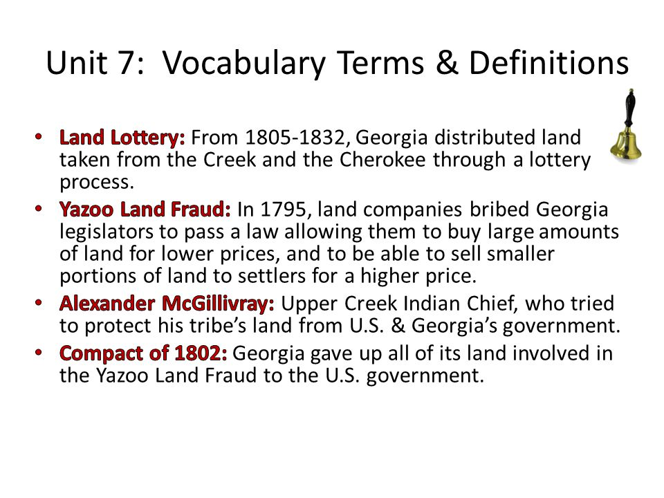 Unit 7: Vocabulary Terms & Definitions