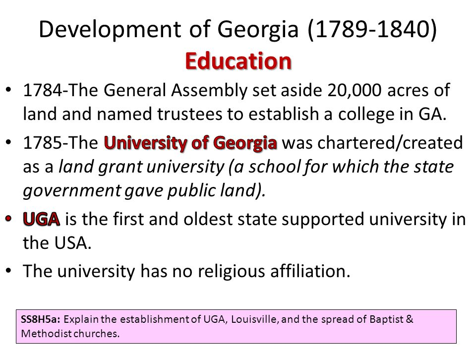 Development of Georgia (1789-1840) Education