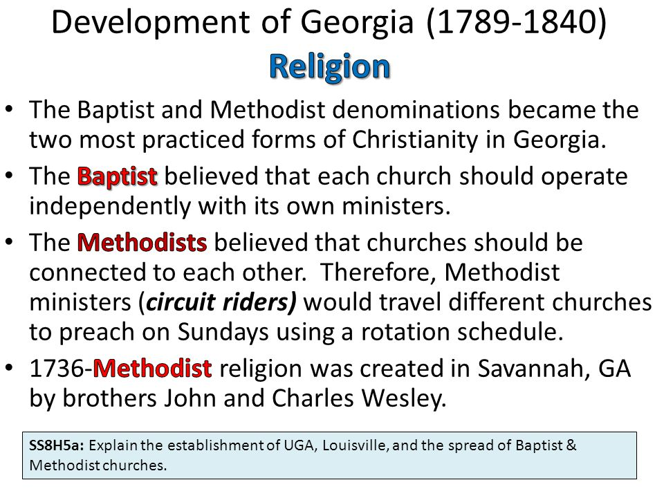 Development of Georgia (1789-1840) Religion