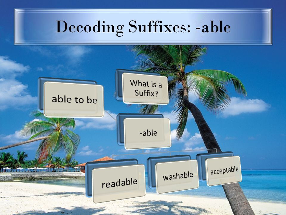 Decoding Suffixes: -able