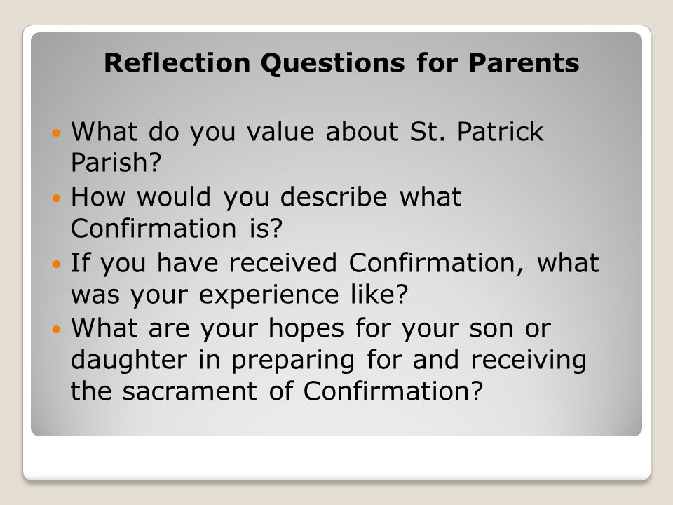 Reflection Questions for Parents