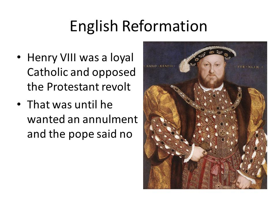 English Reformation Henry VIII was a loyal Catholic and opposed the Protestant revolt.