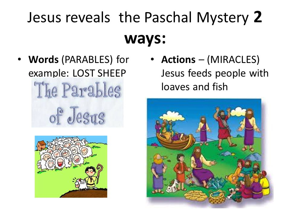 Jesus reveals the Paschal Mystery 2 ways: