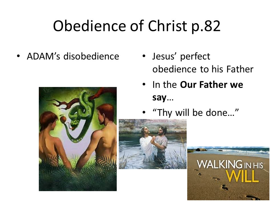 Obedience of Christ p.82 ADAM's disobedience