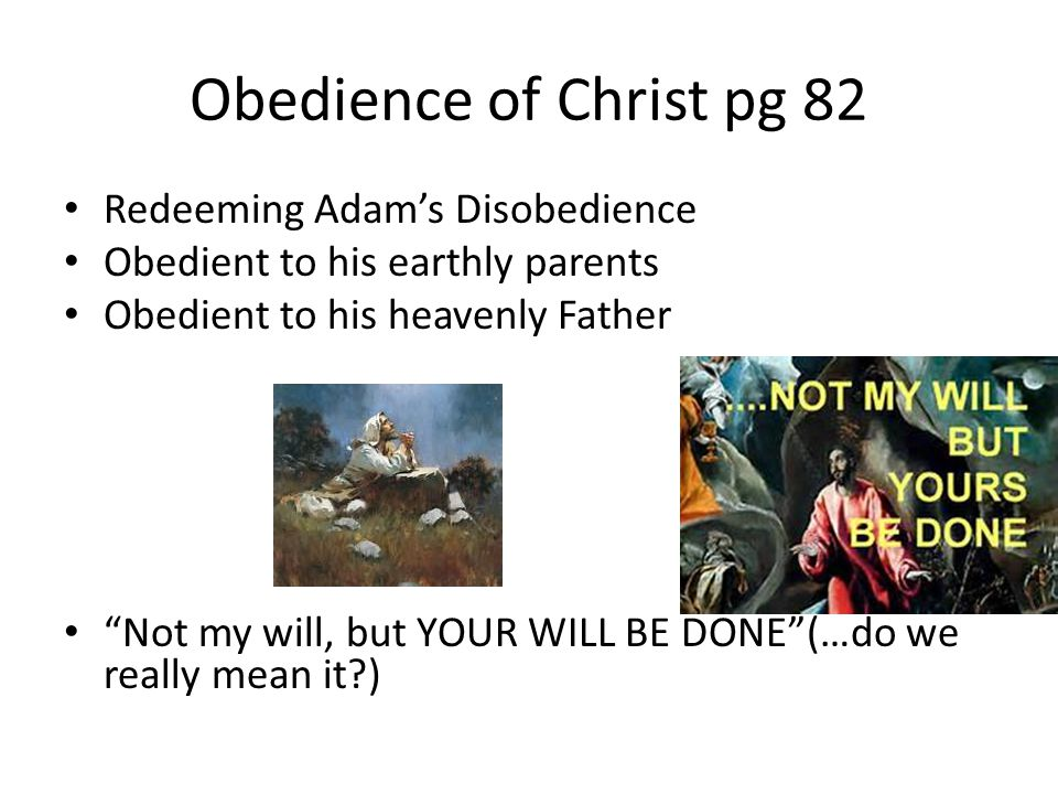 Obedience of Christ pg 82 Redeeming Adam's Disobedience