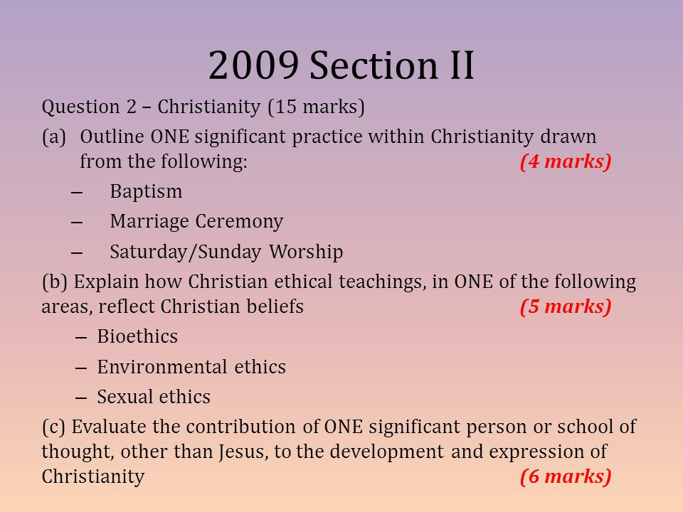 2009 Section II Question 2 – Christianity (15 marks)