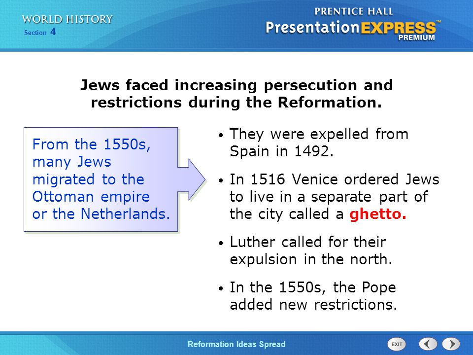 Jews faced increasing persecution and restrictions during the Reformation.