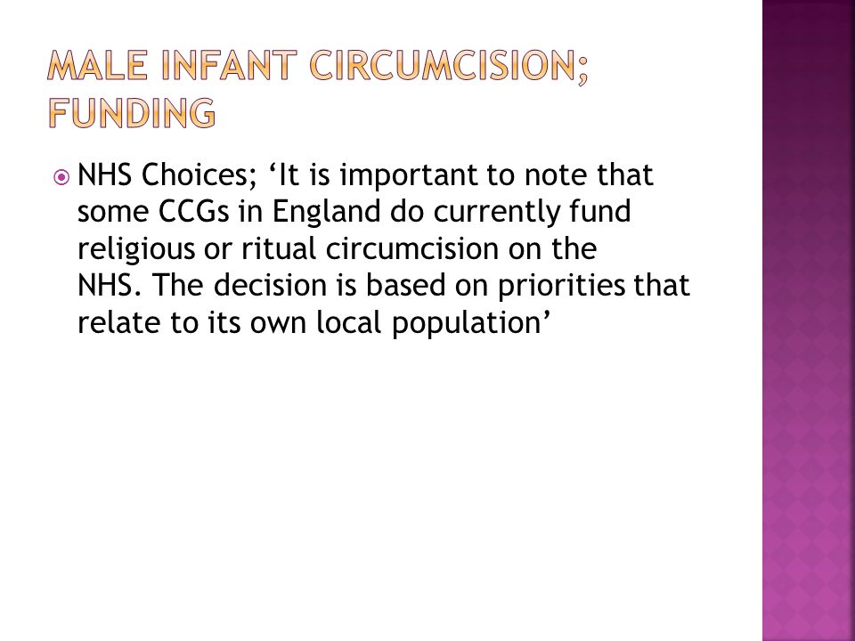 Male infant circumcision; funding