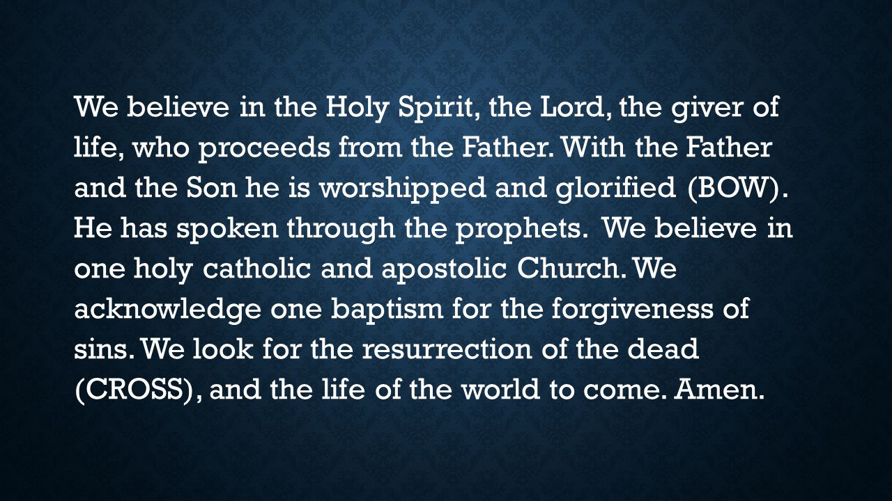 We believe in the Holy Spirit, the Lord, the giver of life, who proceeds from the Father.