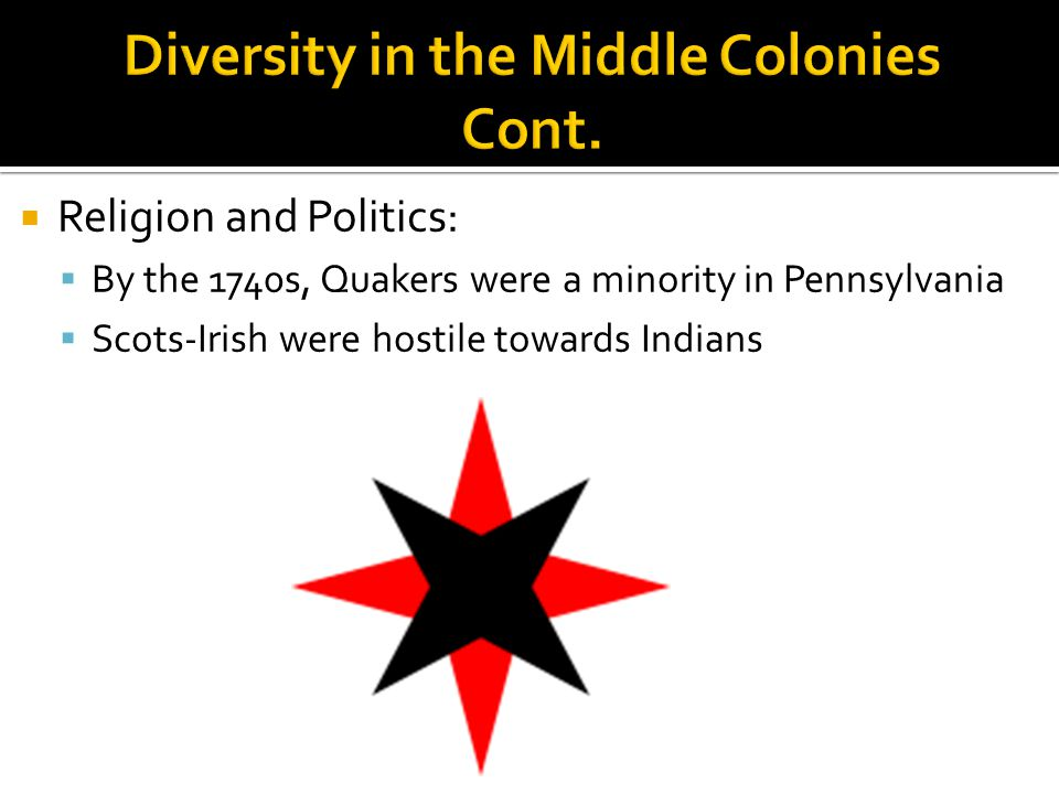 Diversity in the Middle Colonies Cont.