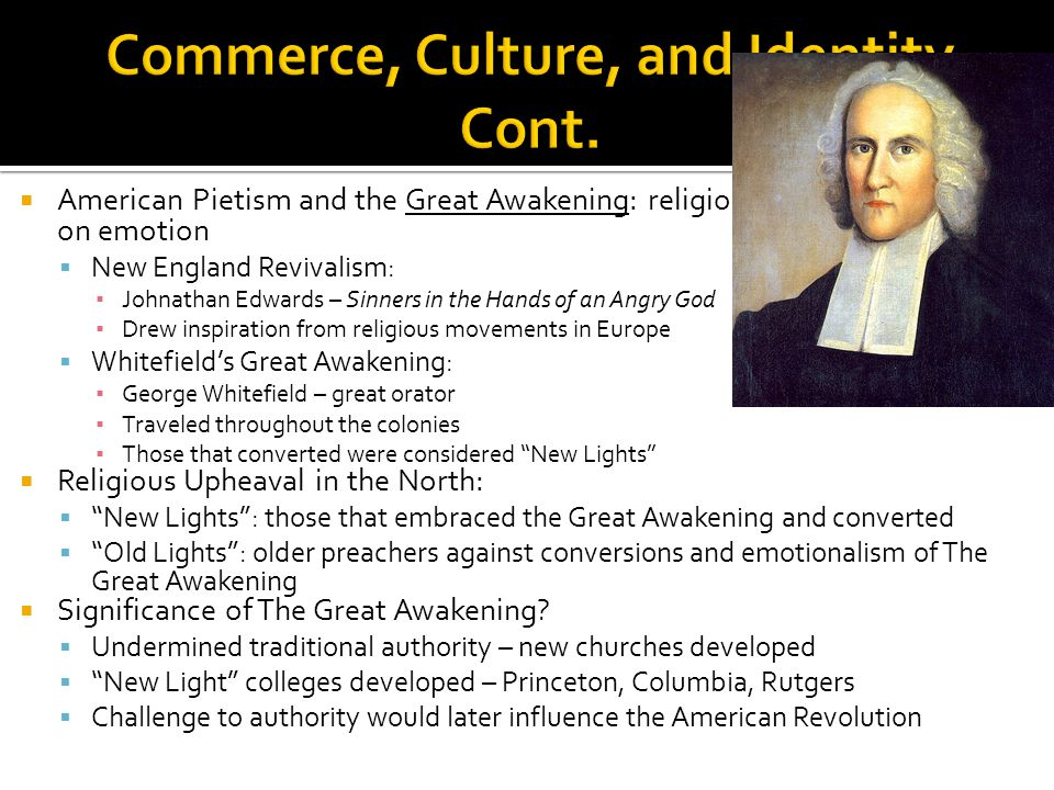 Commerce, Culture, and Identity Cont.