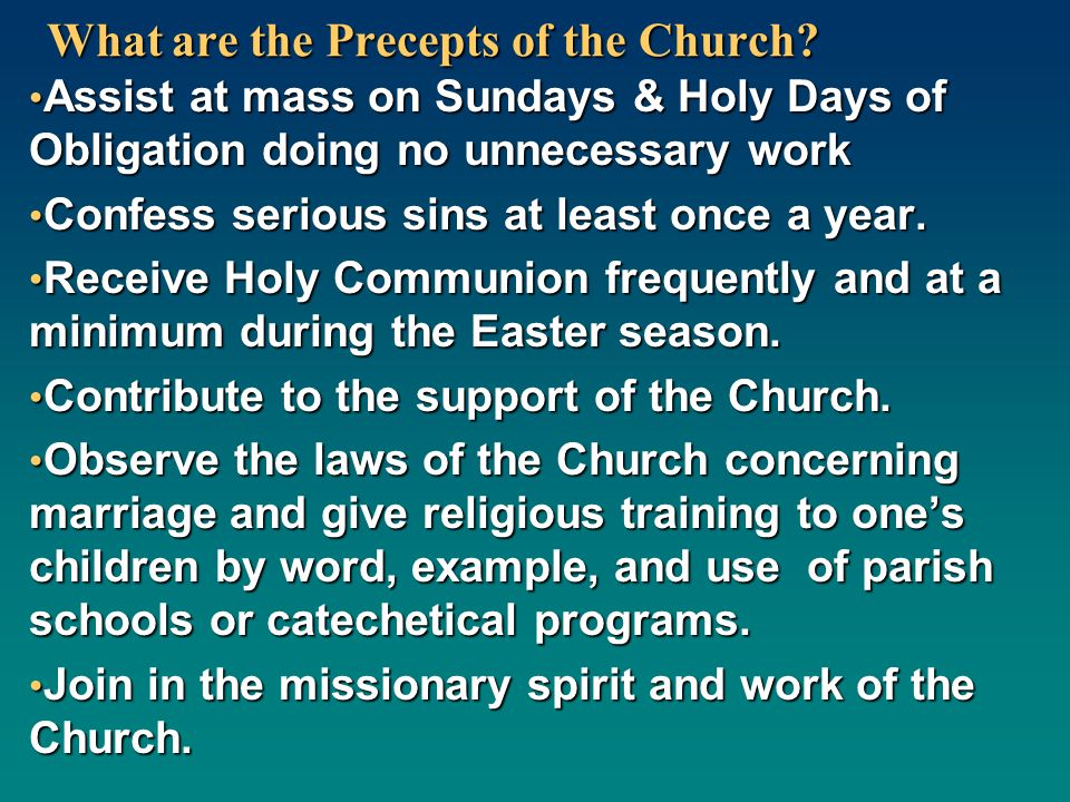 What are the Precepts of the Church