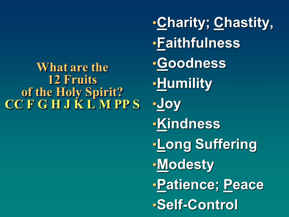 What are the 12 Fruits of the Holy Spirit CC F G H J K L M PP S