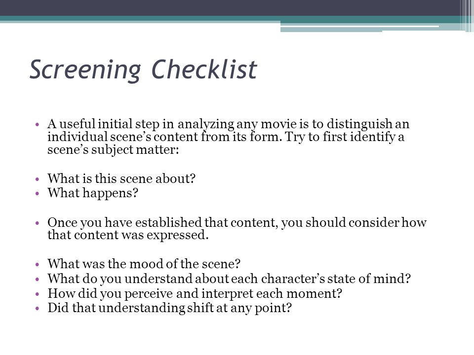 Screening Checklist