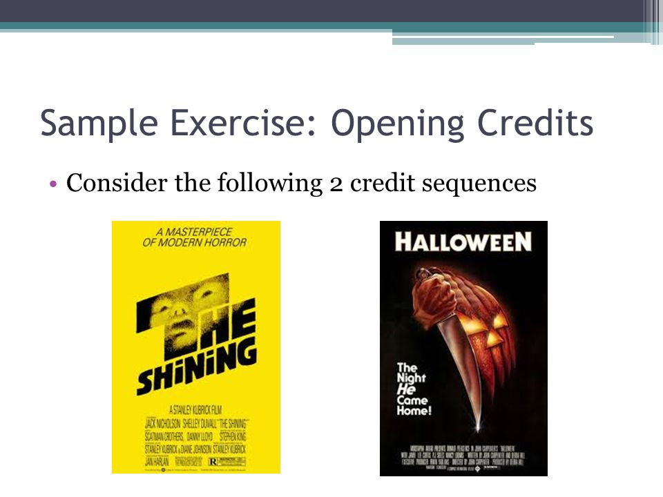 Sample Exercise: Opening Credits