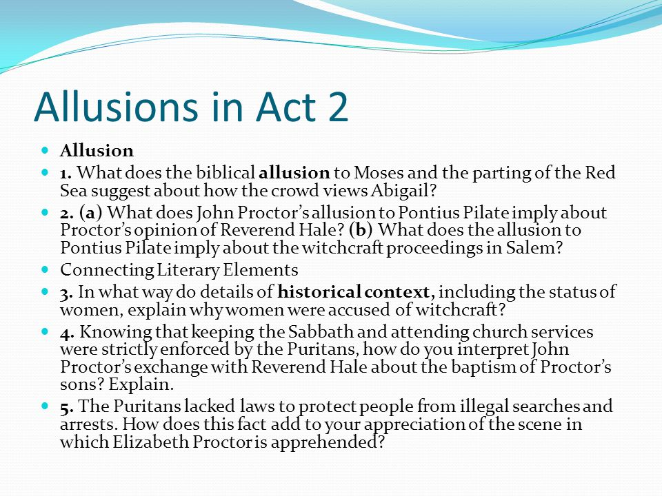 Allusions in Act 2 Allusion
