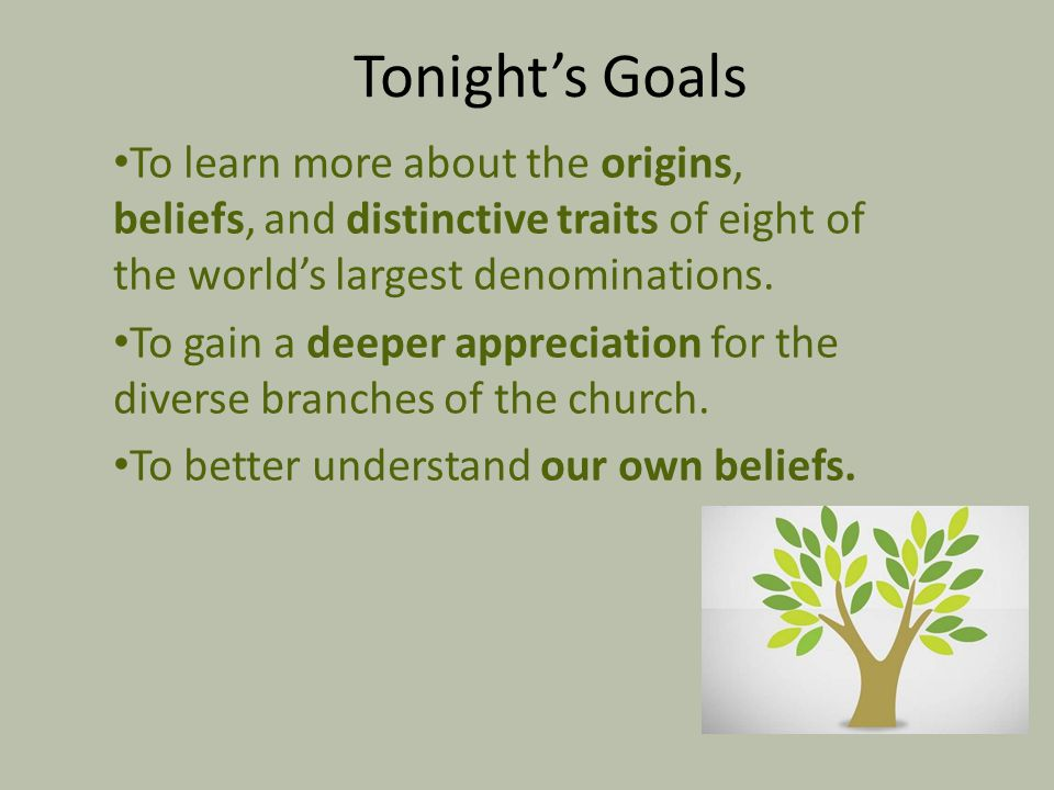 Tonight's Goals To learn more about the origins, beliefs, and distinctive traits of eight of the world's largest denominations.