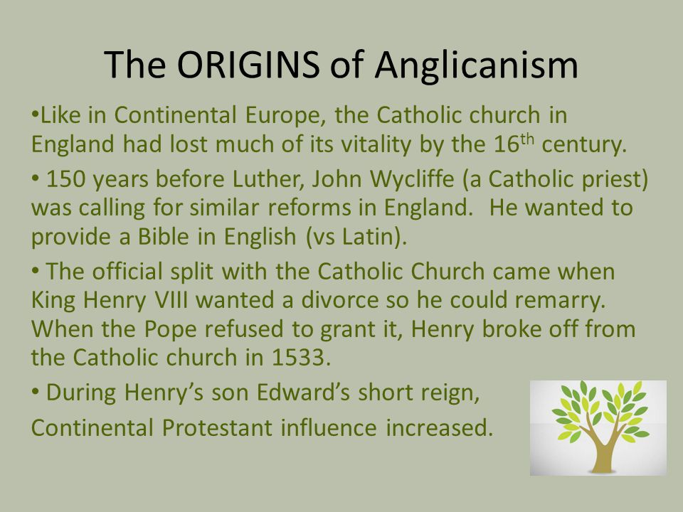 The ORIGINS of Anglicanism