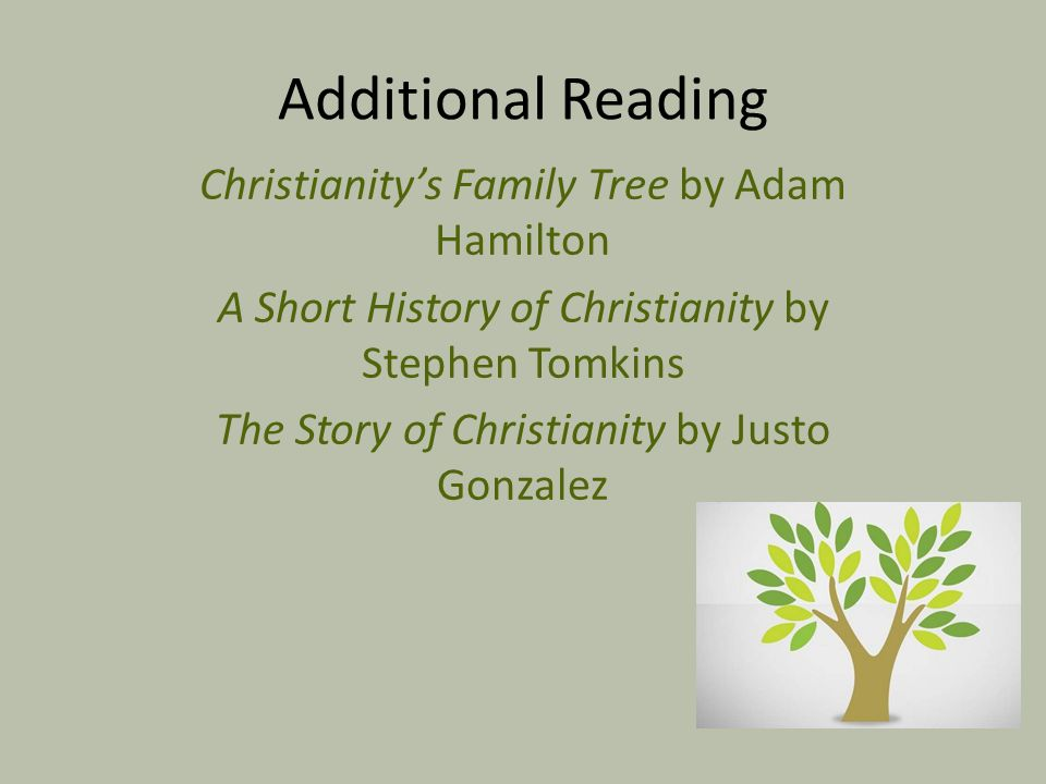 Additional Reading Christianity's Family Tree by Adam Hamilton